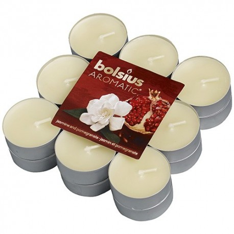 Čajové svíčky Bolsius - Jasmine & Pomegranate (18 ks)